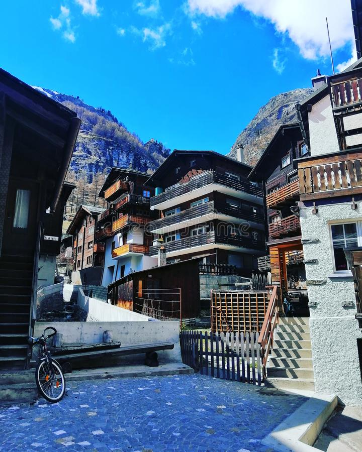 Stary dom w Zermatt, Szwajcaria fotografia royalty free