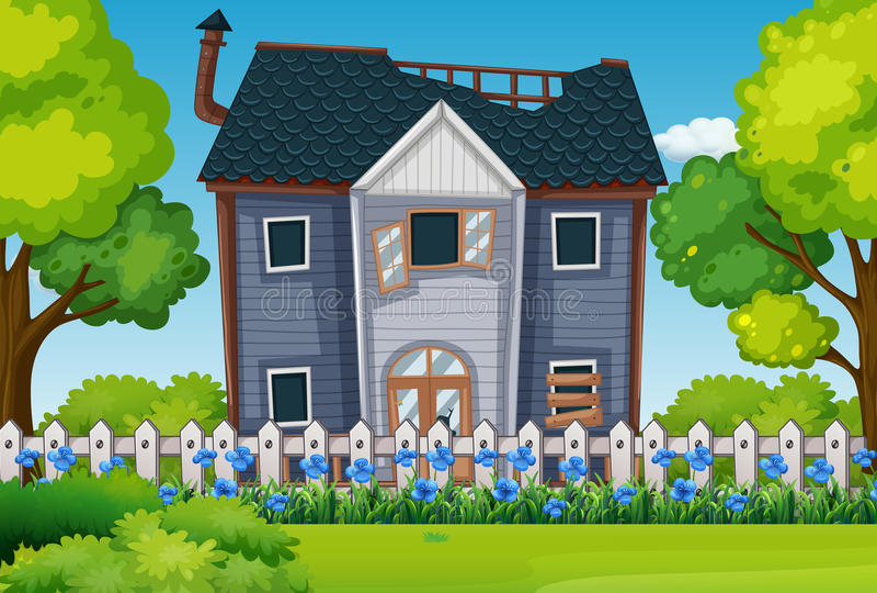 Stary dom z pięknym ogródem ilustracji