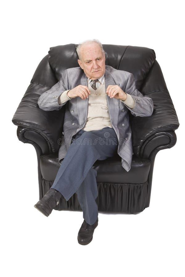 stary dowódca myślenie obraz stock