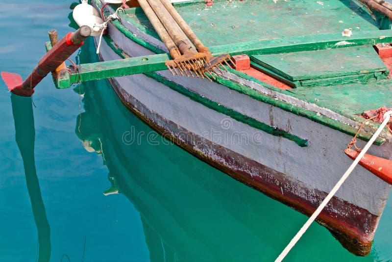 Stary drewniany łódź rybacka szczegół obraz royalty free