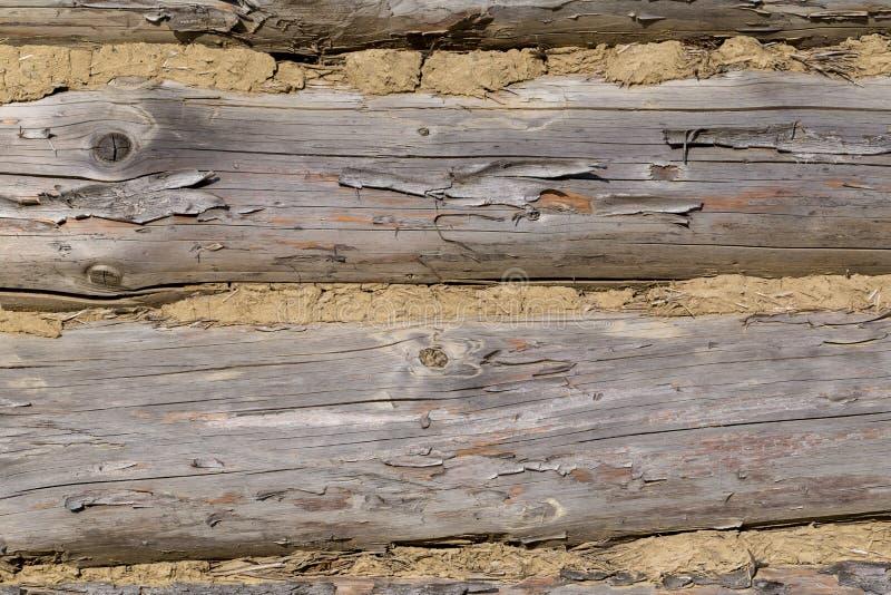 Stary drewniany dom ściany tło, bela dom z glinianą foką obrazy stock