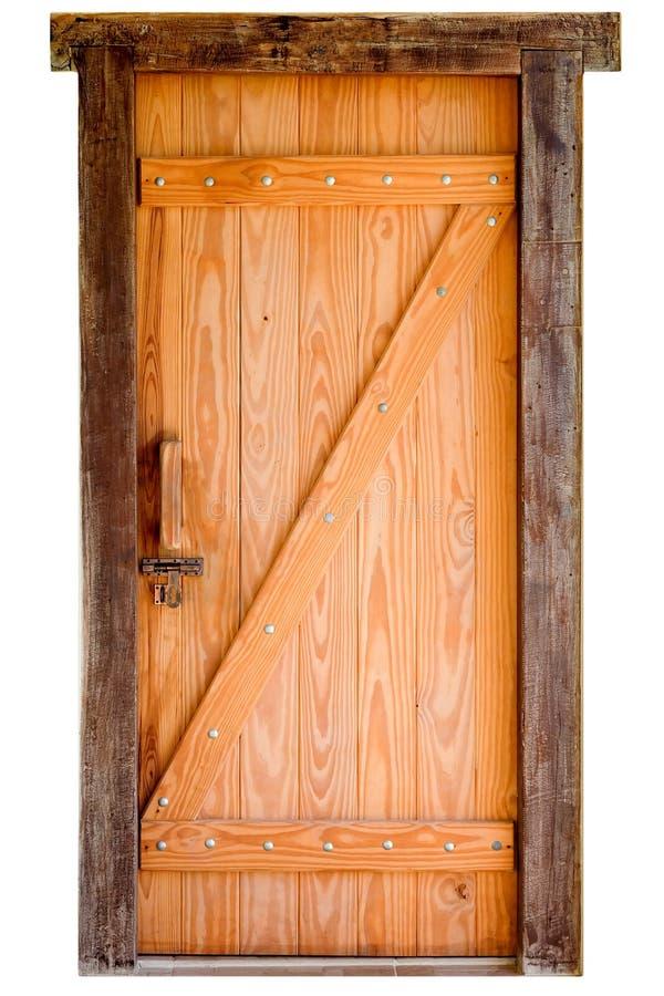 Stary drewniany drzwi odizolowywający na białym tle zdjęcie stock