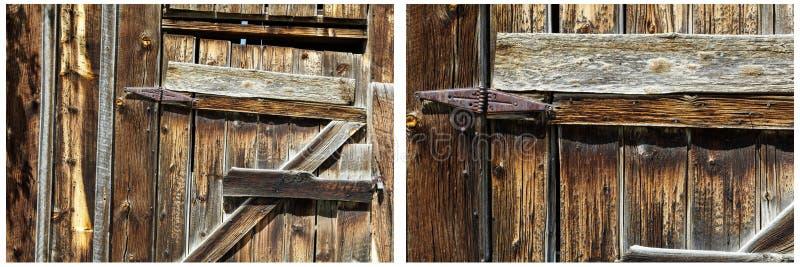 Stary drewniany jaty drzwi rdzewiejący zależy od kolaż zdjęcie royalty free