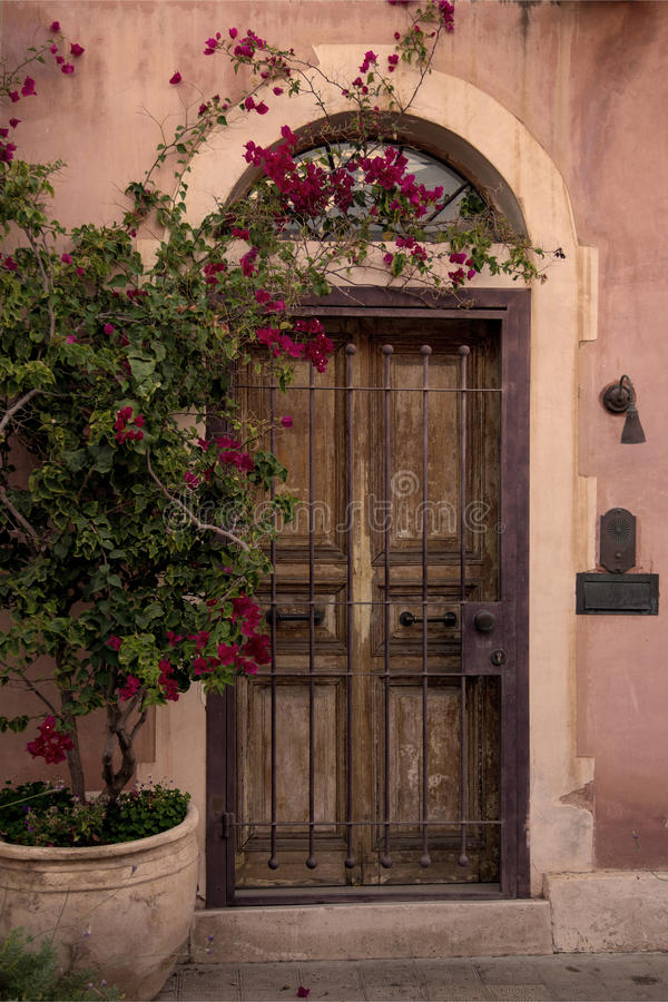 Stary drewniany masywny drzwi zdjęcia royalty free