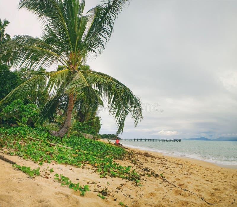 Stary drewniany molo rozciąga out denne i foamy fala na Maenam plaży, Koh Samui, Tajlandia zdjęcia royalty free