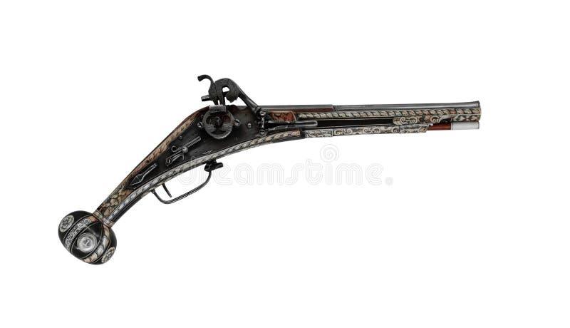 Stary drewniany pistolet odizolowywający na białym tle fotografia royalty free