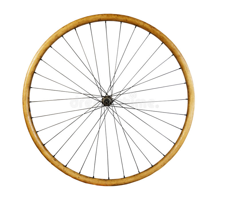 Stary drewniany rowerowy koło zdjęcia royalty free