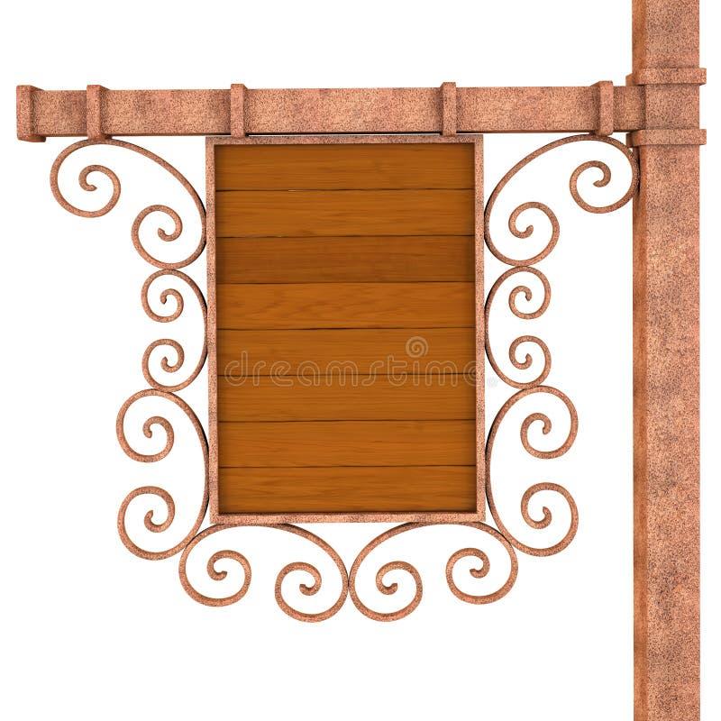 Stary drewniany signboard. ilustracji