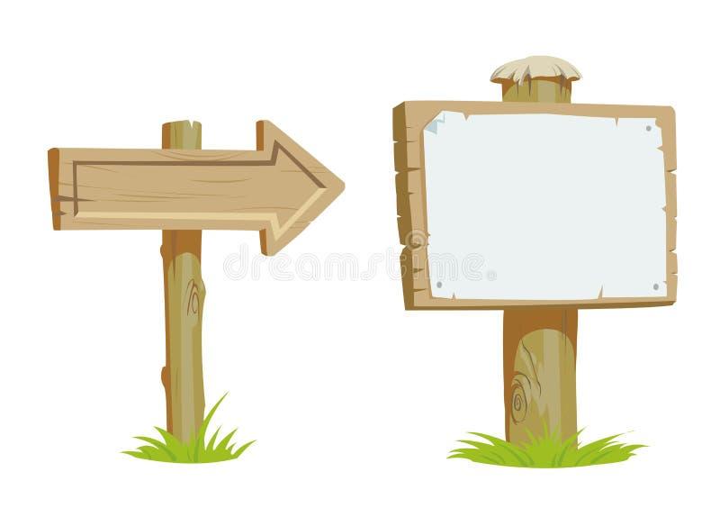 Stary drewniany signboard i drewniane kierunek strzała ilustracja wektor