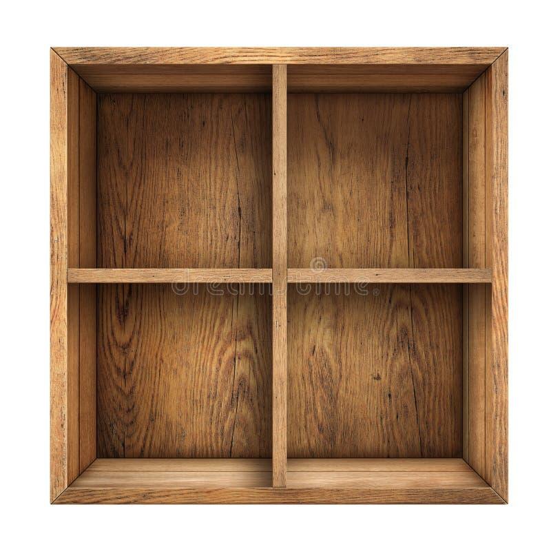 Stary drewno kreślarza lub pudełka odgórny widok odizolowywający zdjęcie stock