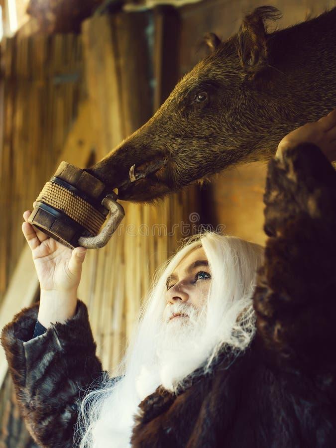 Stary druid nawadnia knur g?ow? zdjęcia royalty free