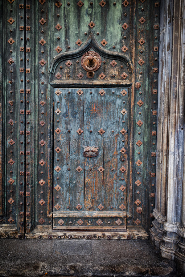 Stary drzwi Girona katedra obraz royalty free