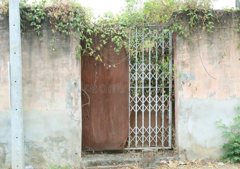 Stary drzwi i Stara ogrodzenie ściana zdjęcia royalty free