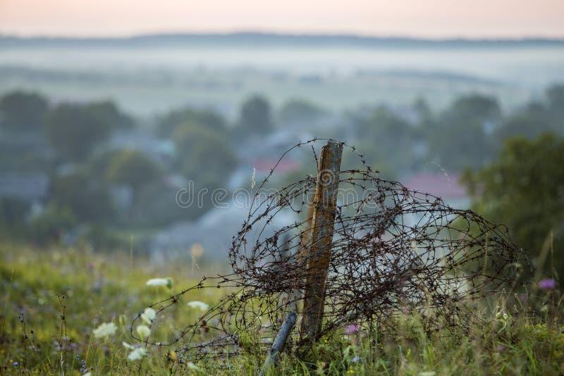 Stary duży drut kolczasty coiled na ośniedziałym słupie, łamającym ogródu ogrodzenie na trawiastym kwitnącym wzgórzu na mglistym  fotografia royalty free