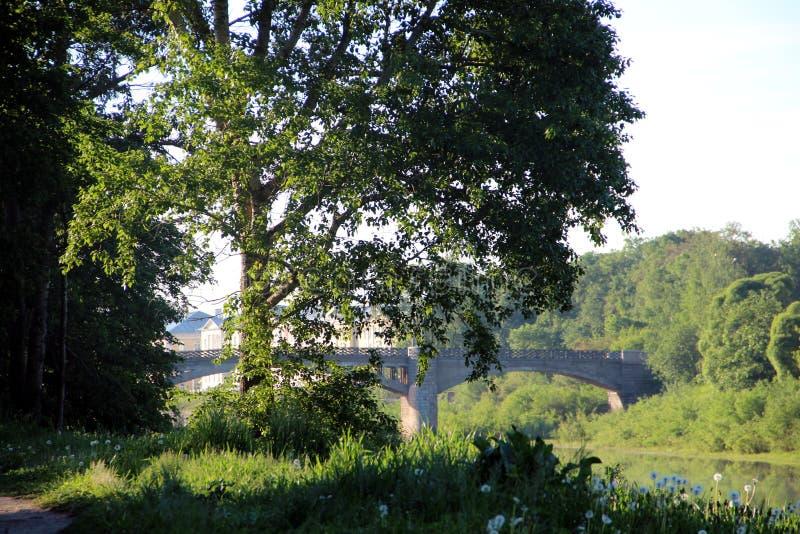 Stary dziejowy kamienia most na rzece fotografia stock