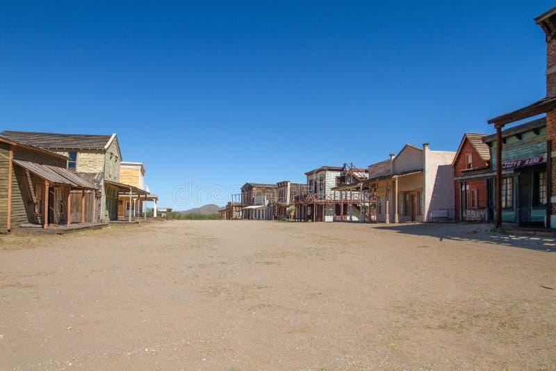 Stary Dziki Zachodni Grodzki plan zdjęciowy w Arizona obraz stock