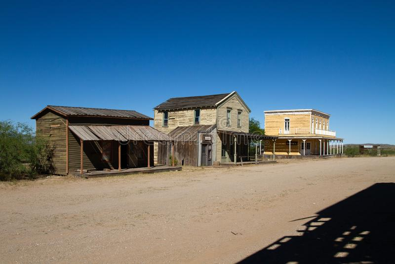 Stary Dziki Zachodni Grodzki plan zdjęciowy w Mescal, Arizona obrazy stock