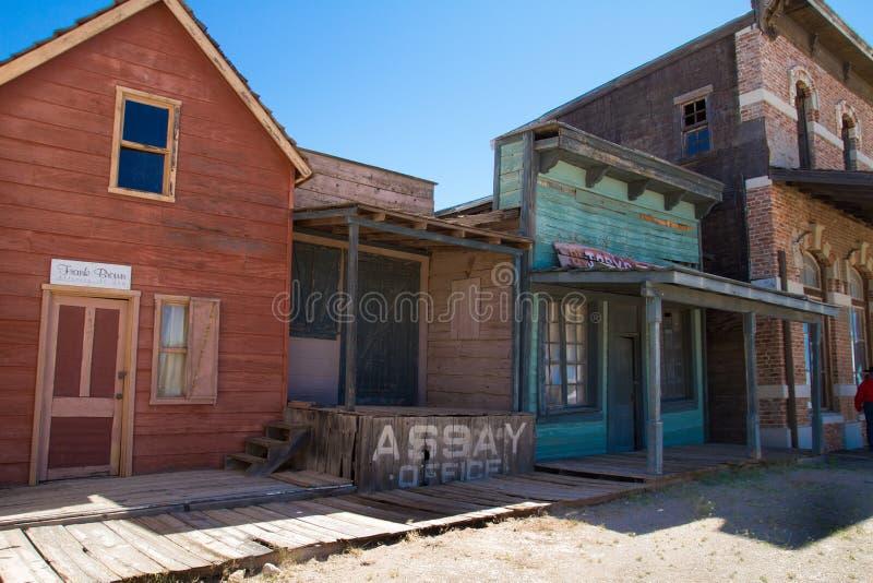 Stary Dziki Zachodni plan zdjęciowy w Mescal, Arizona fotografia stock