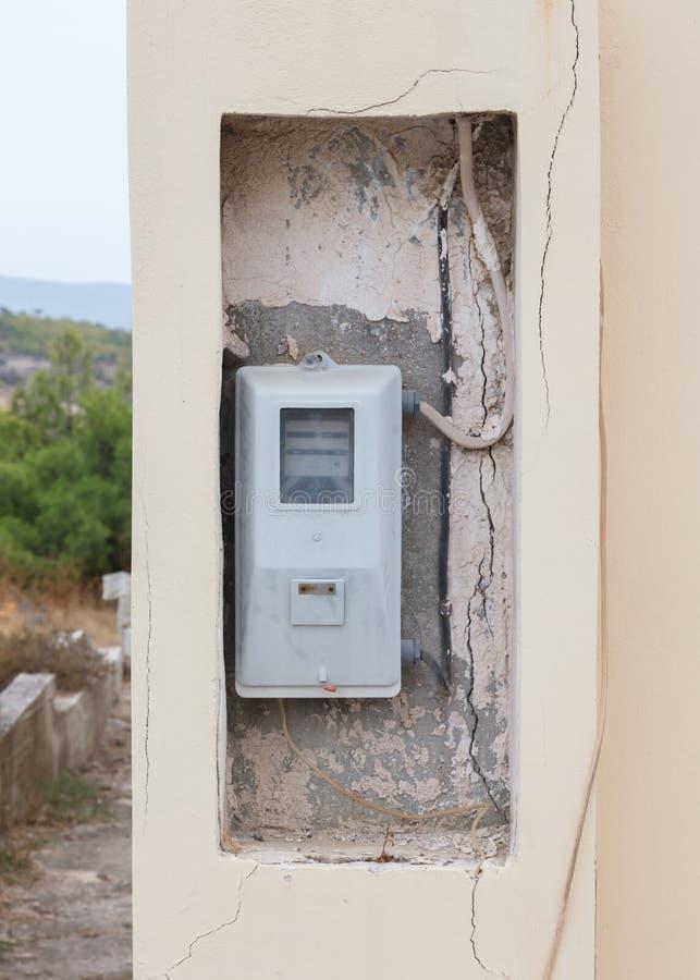 Stary elektryczność metr, Grecja fotografia royalty free