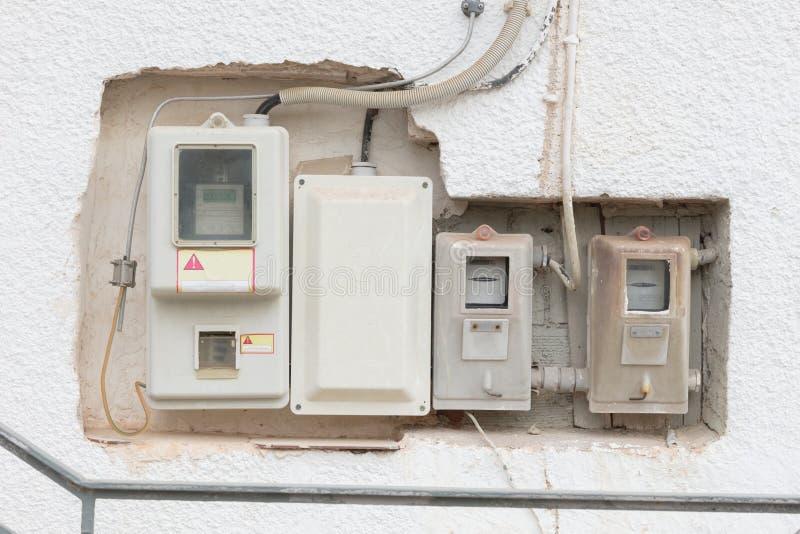 Stary elektryczność metr, Grecja obraz stock