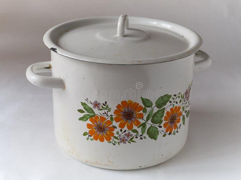 Stary emaliowy cookware obraz stock