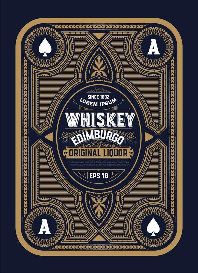 Stary etykietka projekt dla whisky ilustracji