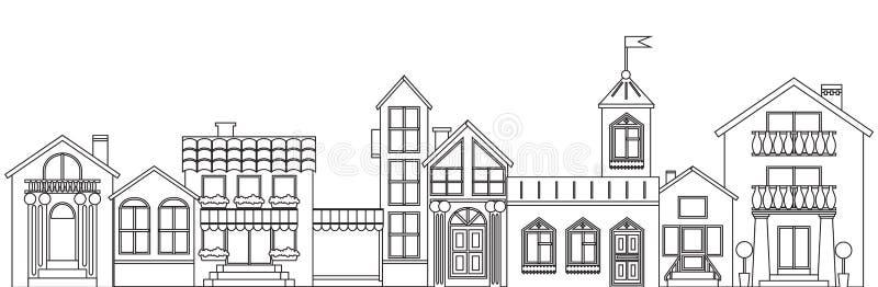 Stary europejski miasteczko kontur Wektor odizolowywająca domu konturu ilustracja ilustracji