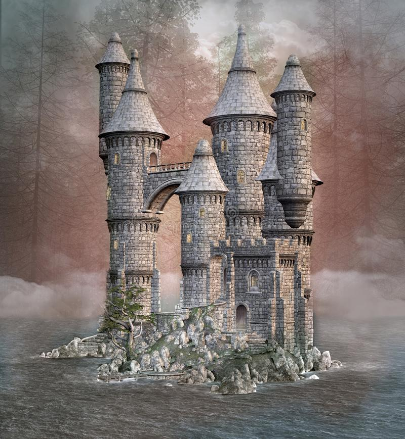 Stary fantazja kasztel w jeziorze ilustracja wektor