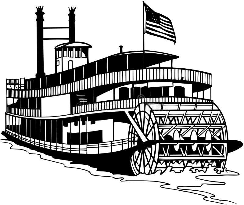 Stary Ferryboat kreskówki wektor Clipart royalty ilustracja