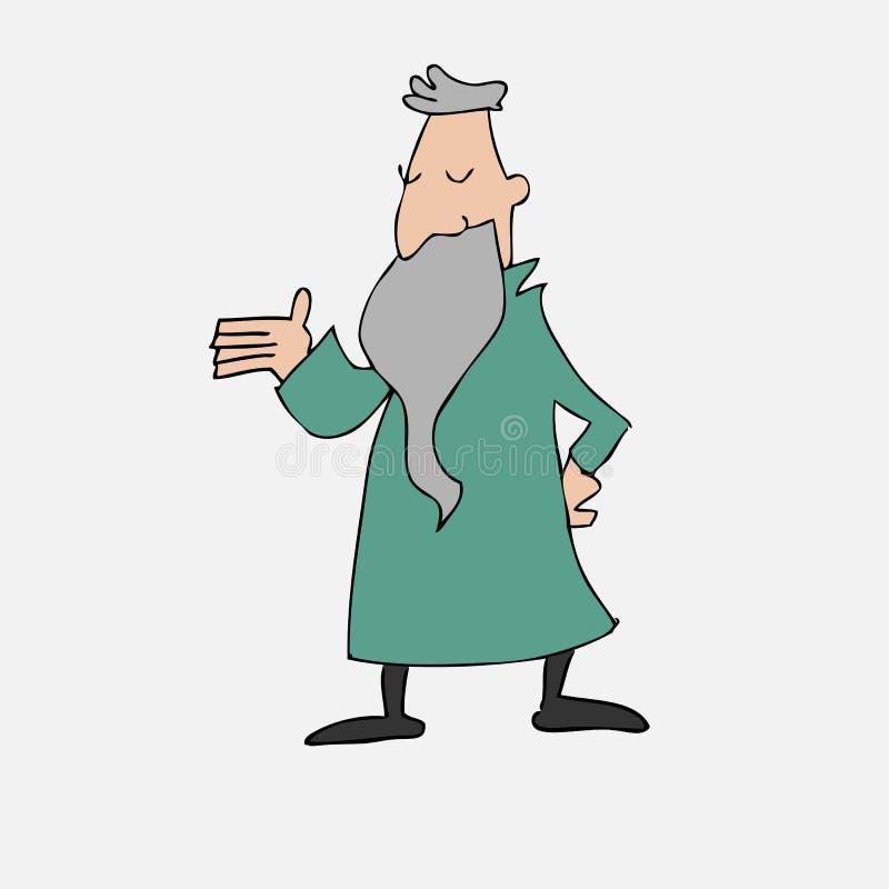 Stary filozof z długą brodą royalty ilustracja
