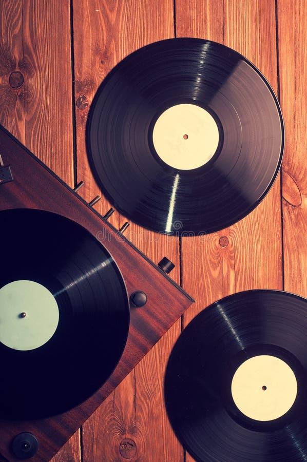 Stary fonograf i gramofonowi rejestry obraz stock