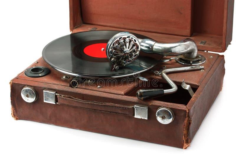 Stary fonograf i winylowy rejestr obraz stock