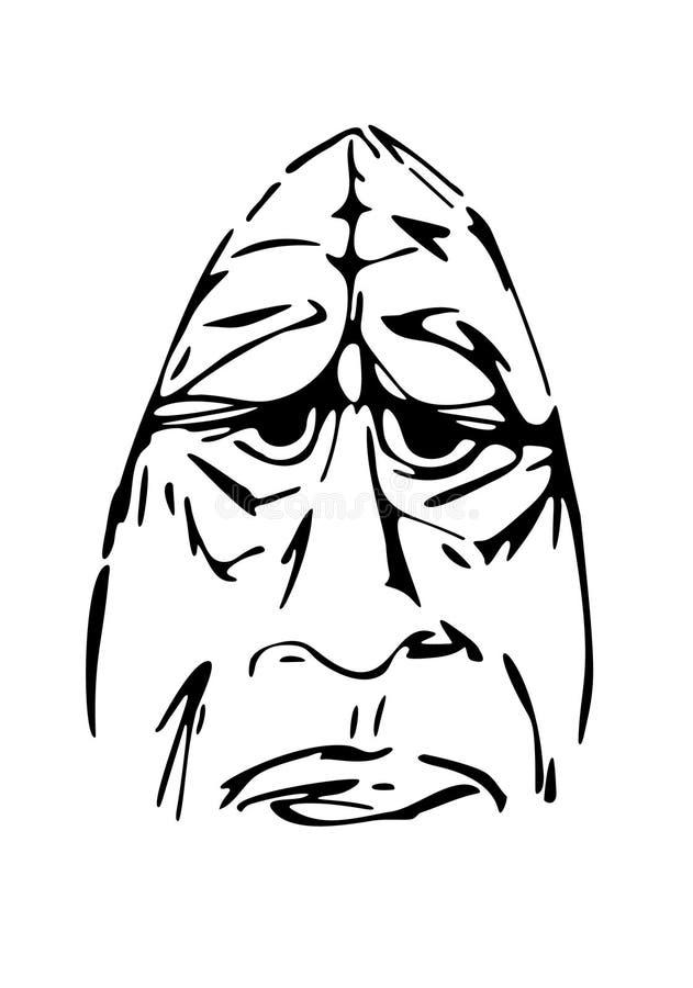 Stary gniewny mężczyzna nakreślenie, ręka rysunek, żadny ślad ilustracji