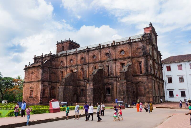 Stary Goa sławny kamienny kościelny budynek obraz stock