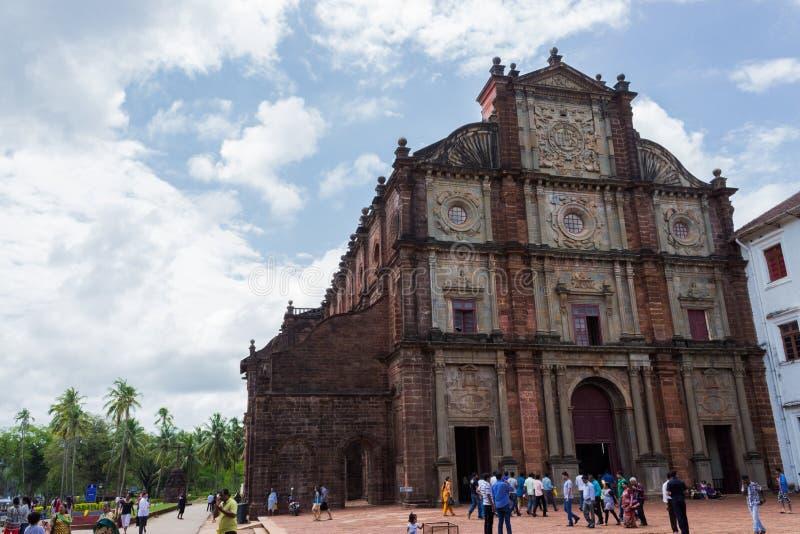 Stary Goa sławny kamienny kościelny budynek zdjęcia royalty free