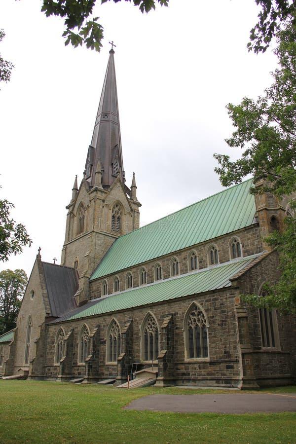 Stary Gocki brown i szary dachowy kościół brać za drzewami w chmurnej lato pogodzie z pięknym zielonym gazonem zdjęcia stock
