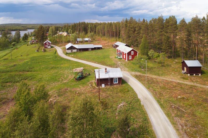 Stary gospodarstwo rolne w Północnym Szwecja fotografia stock