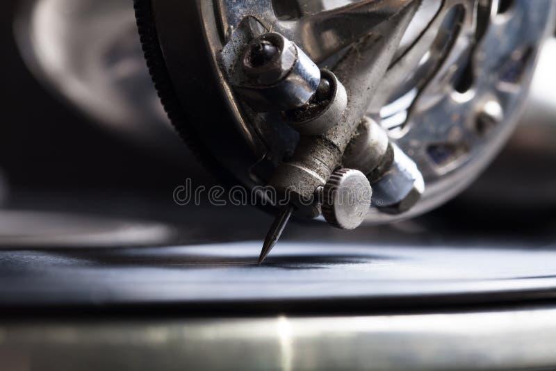 Stary gramofon Zamyka w górę widok Selekcyjna ostrość Płycizna zgłębiająca zdjęcie stock