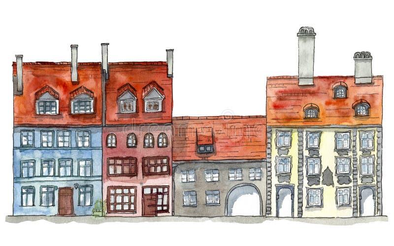Stary grodzki uliczny vew ilustracji