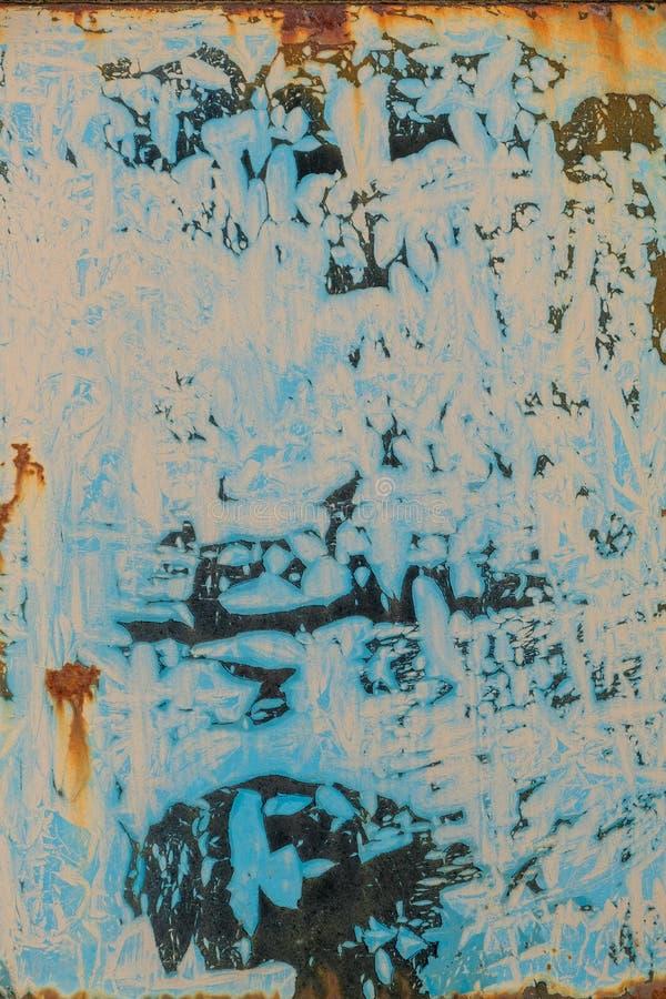 Stary grunge drapający ośniedziały rocznik barwiący malujący samochodu talerza beżowy błękitny czerń obraz stock