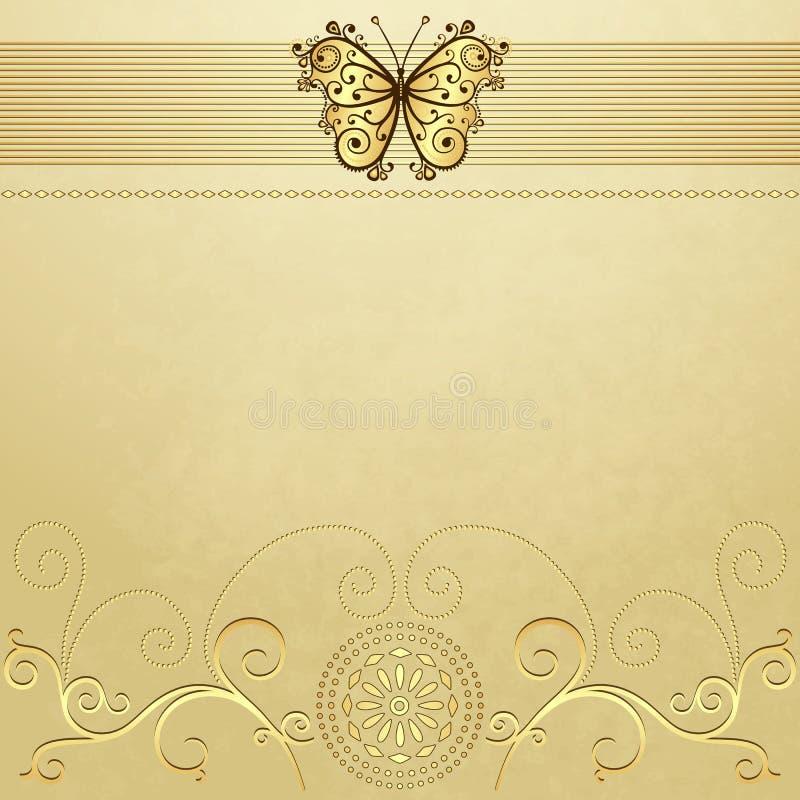 Stary grunge papier z złocistym motylem royalty ilustracja