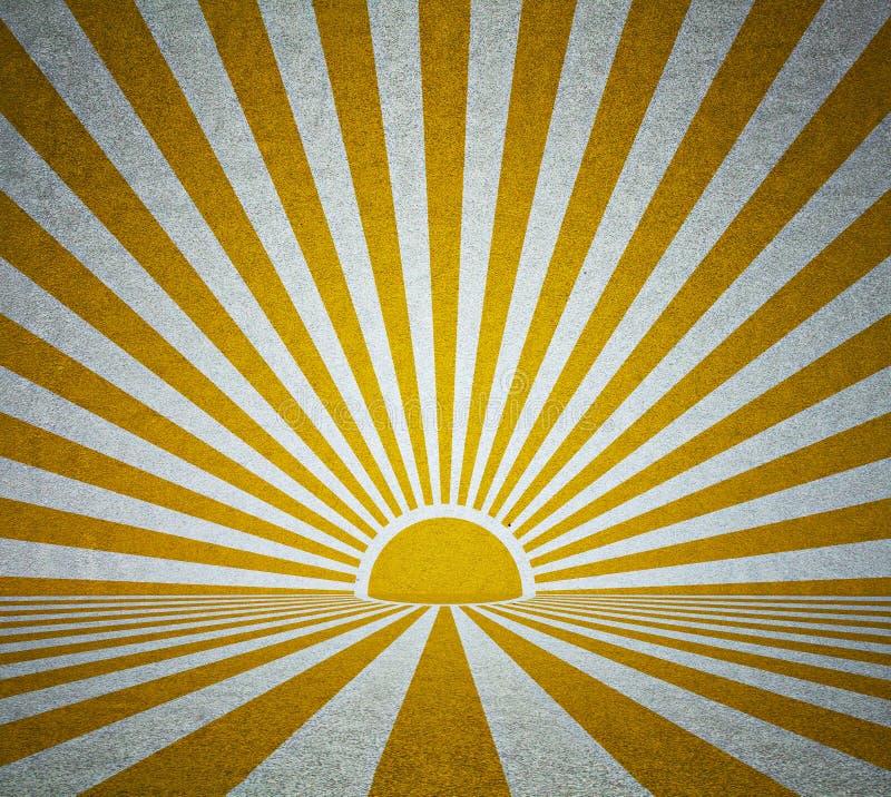 Stary grunge pokój z retro słońce promieniami ilustracja wektor