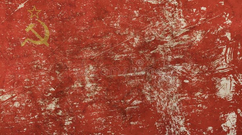 Stary grunge rocznik blakł USSR sowieci - zrzeszeniowa flaga fotografia royalty free