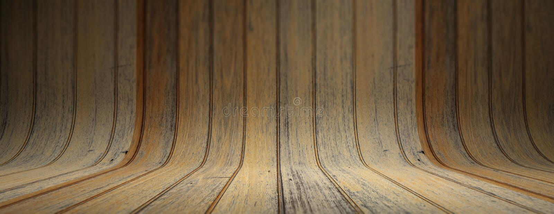 Stary grungy i wyginający się drewniany tło, sztandar fotografia royalty free