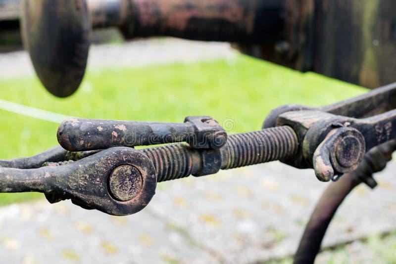 Stary haczyk używać w kolejach Holować haczyka dla furgonu lub pociągu zdjęcia stock