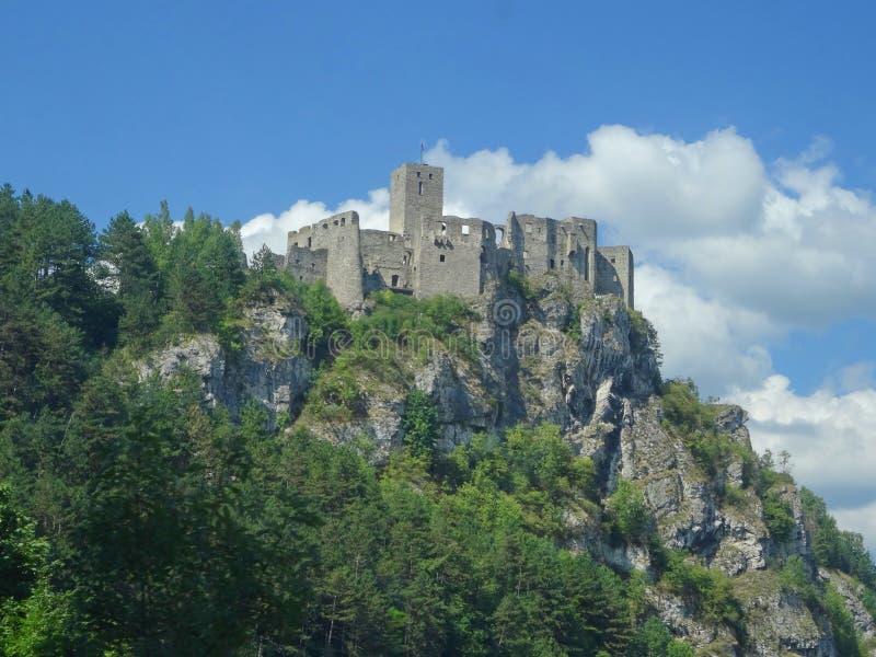 Stary hrad near Strecno, Slovakia, Ruins of Medieval Castle. Stary hrad near Strecno Built in the First Half of 14th Century royalty free stock images