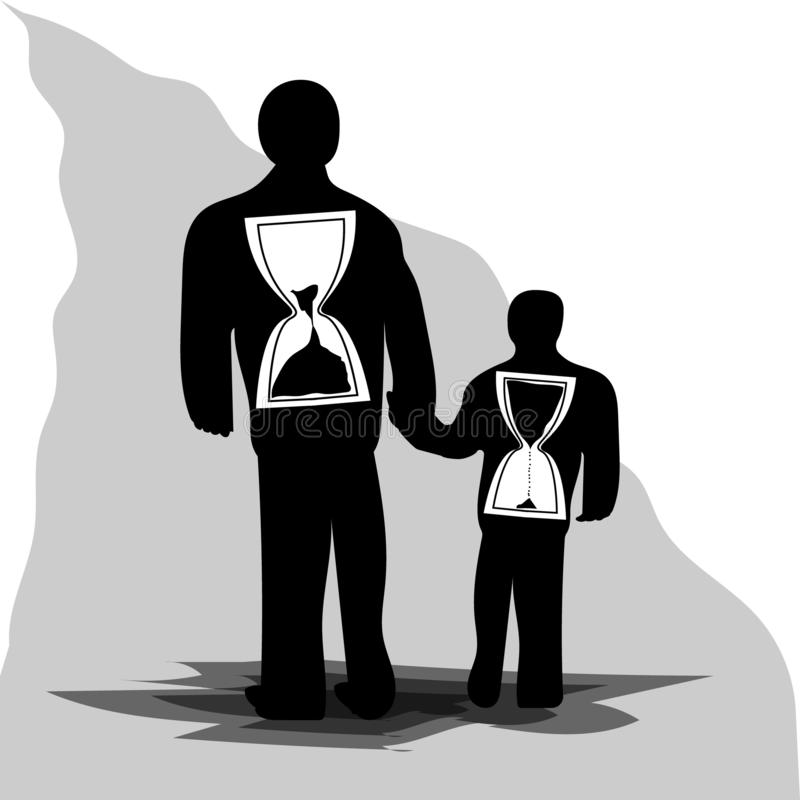 Stary i młody człowieku z hourglass wśrodku royalty ilustracja