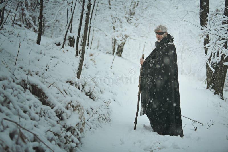 Stary jeden przyglądający się mężczyzna w lesie z śniegiem zdjęcie royalty free