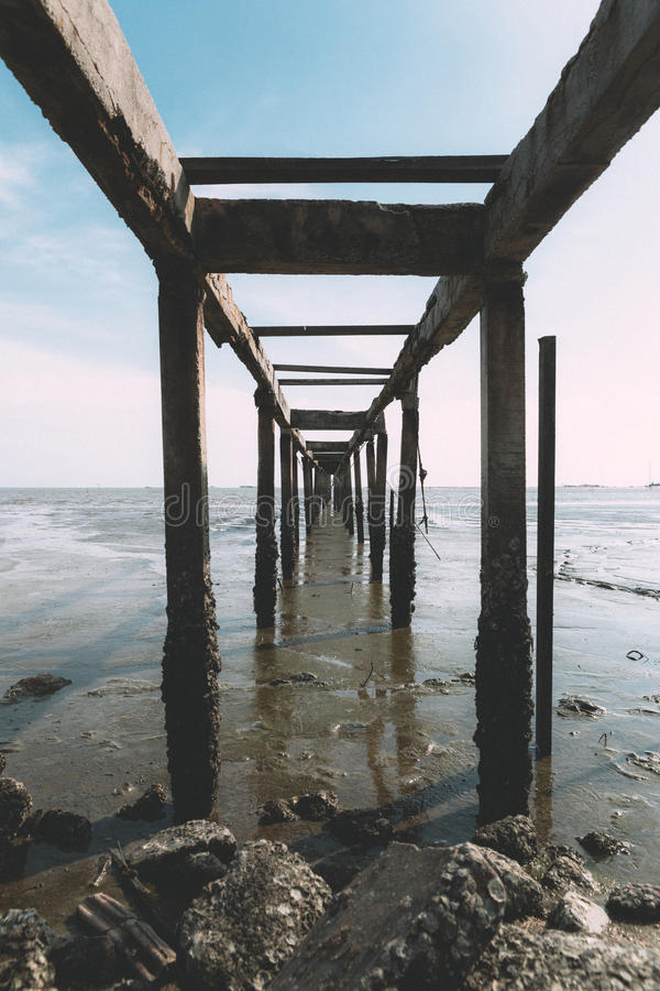 Stary jetty morzem obrazy royalty free