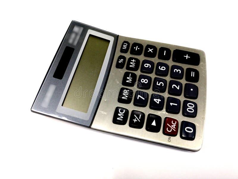 Stary kalkulator Odizolowywający na białego tła biurowym wyposażeniu zdjęcie stock